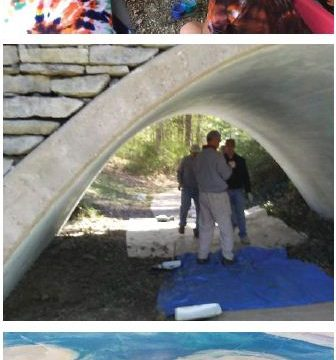 3 small photos of an artistic tunnel