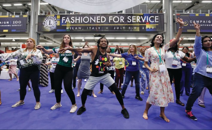 At convention, you never quite know when a dance line will break out.