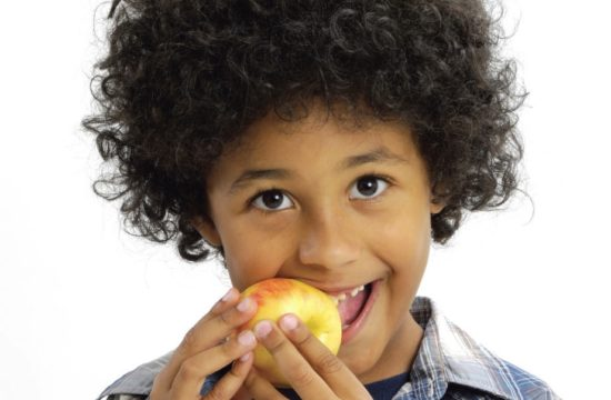 A child eating an apple