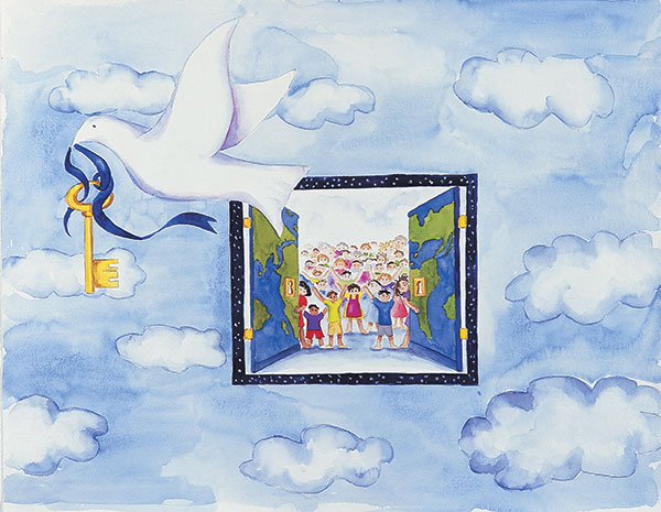 "1995-96 Grand Prize Winner, ""Peace Will Set Us free"" by Danielle Hernandez."