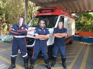 of São Paulo emergency response team stands proudly with their Lions face shields.