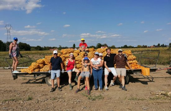 Lions Clubs members pose with truckload of potatoes