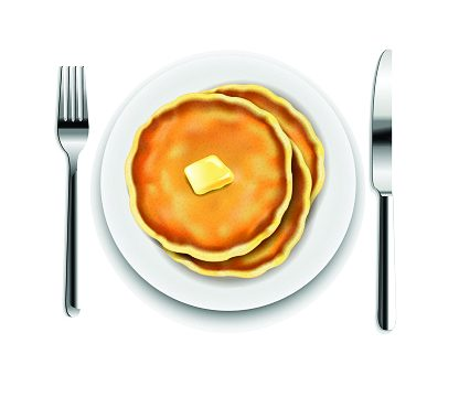 Illustration of a stack of pancakes and a fork and knife